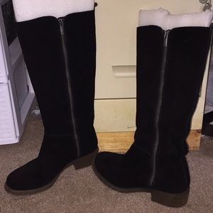 Lucky Brand Black Sued double zip boots